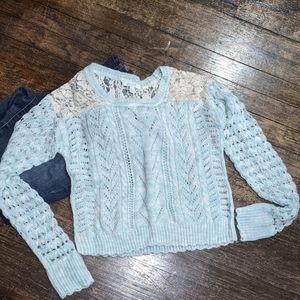 Chunky Aqua blue and cream light weight sweater